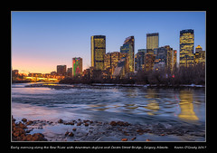 Early morning along the Bow River with downtown skyline and Centre Street Bridge, Calgary Alberta [EXPLORED] (kgogrady) Tags: bluehour fall landscape calgary alberta canada fujinon fujifilmxt2 fujifilm 2017 westerncanada xt2 xf18135mmf3556oiswr yyc reflection photosofalberta skylinepictures trees nopeople picturesofalberta riverbank river skyline skylinephotos skyscrapers noone picturesofcalgary photosofcalgary centrestreetbridge architecture autumn bowriver downtown