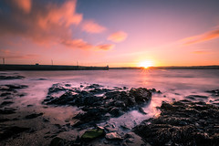 Sunset in Skerries - Ireland - Seascape photography (Giuseppe Milo (www.pixael.com)) Tags: photo landscape sunset ireland port light sun beach skerries travel longexposure photography sea sky seascape rocks europe geotagged clouds countydublin ie onsale portfolio