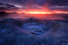 Sunrise in hell! (sven483) Tags: hverir namaskard iceland goethermal field sunrise north myvatn mud pool sven broeckx