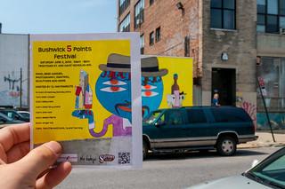 Bushwick 5 Point Festival Ad Overlapped with the Original Mural, Bushwick, Brooklyn, NY, USA