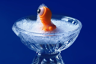Like a king. Taking a bath in royal blue.