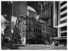 Beauty from Another Era (PEN-F_Fan) Tags: clouds pedestrians poles sky border bwfilms aurorahdr2018 people buildings olympuspenf australia kodaktechnicalpantechnidol street skyscraper alienskinexposure objects architecture building mirrorless mft nature sydney monochrome alienskin clock hdr signs intersection exposurex3 dxophotolab mzuiko12100mmf40pro filmlook newsouthwales dxoviewpoint frame blackandwhite road