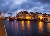 Early morning - Haarlem, The Netherlands (Dutchflavour) Tags: haarlem bluehour morninglight cityscape citycentre citylights sky clouds panorama netherlands holland gravestenenbrug spaarne waterfront reflections drawbridge olifant bridge water river