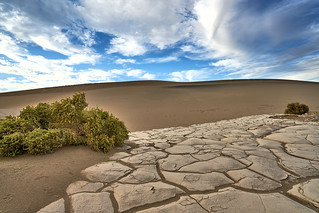 Cracked Playa - Mesquite Flat Sand Dunes - Death Valley, California