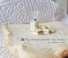 Miniature bread and sandwich (The ancient polymer clay factory) Tags: bread dollhousebread sandwich oneinchscale miniature
