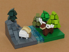The Elk and the Ibex (Grantmasters) Tags: deer elk ibex goat lego micro