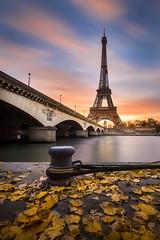 Eiffel Tower (Matthieu Plante) Tags: paris france europe seine river fall autumn automne leaf leaves sunrise long exposure 6d canon