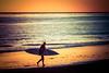 walking on sunset (Karol Franks) Tags: beach surfer carpinteria ca surf ocean sea autumn color horizon pacific coast surfboard california