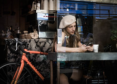 East End Chic (2) (XBeauPhoto) Tags: bw bicycle bike bricklane beauty beret cafe chic eastend fashion monochromatic patterns streetlife streetphoto streetphotography streetstyle window youngwoman london