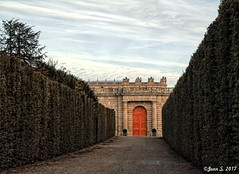 ... (Jean S..) Tags: alley versailles castle trees clouds sky blue white orange sunset door
