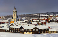 Røros in Winter (AdelheidS Photography) Tags: adelheidsphotography adelheidsmitt adelheidspictures norway noorwegen norge norwegen noruega norvegia nordic norvege norden røros copper mining church woodenhouses unesco unescoworldheritage town winter snow churchtower