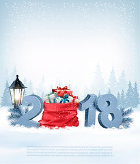 Christmas holiday background with 2018 and red sack with presents. Vector. (everythingisfivedollar) Tags: tree greeting hat red january new concept sign vector holiday symbol star template celebration xmas christmas card gift label snowflake box season number retro design color winter merry december banner art background snow party branch nature happy present year ribbon open magic 2018