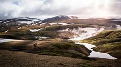 hikers of Landmannalaugar (ingoal18) Tags: landmannalaugar laugavegur laugavegurinn mountains hills beautiful red yellow green rot grün gelb wandern hiker hike hiking sun light lightroom nikkor 18140mm nikon d7100