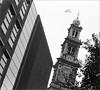 (frscspd) Tags: 50800012 20170512 pentax pentaxmx mx takumar takumar58mm 58mm ilford ilfordxp2 ilfordxp2400bw filmgrain film amsterdam monochrome westertoren prinsengracht dutchangle canal churchtower