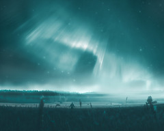 44 (petrisalonen) Tags: landscape night nightphotography auroraborealis northernlights revontulet field human fog fogy mist misty forest nature finland stars astrophotography visual photoshop north sky blue