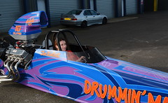 Flame & Thunder_7724 (Fast an' Bulbous) Tags: dragster drag race car vehicle automobile fast speed power acceleration santapod pits girl woman motorsport