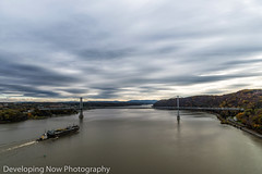 Mid Hudson Bridge (nywheels) Tags: bridge midhudsonbridge midhudsonvalley poughkeepsie poughkeepsieny highland highlandnewyork ulstercounty dutchesscounty newyork hudsonvalley hudsonriver barge ship tugboat water sky clouds