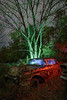 Red Cadillac (Notley Hawkins) Tags: httpwwwnotleyhawkinscom notleyhawkinsphotography notley notleyhawkins 10thavenue lightpainting car auto boneyard abandoned trees fall outdoors sky 2017 november night nocturne evening salvage salvageyard junkyard cadillac flames tree rgb red green blue light