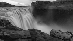 and not a step further ... (lunaryuna) Tags: iceland northeasticeland waterfall landscape gorge rivergorge jokulsaafjollumriver dettifosswaterfall rivercanyoncolumnarbasalt longexposure blackwhite bw monochrome lunaryuna