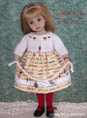 """""""Christmas Wishes"""" made for the Little Darlings. (Cindy Rice Designs) Tags: sweater cardigan embroidery doll dress effner littledarlings christmas"""