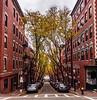 Garden Street ((Jessica)) Tags: autumn symmetry tree foliage street massachusetts trees beaconhill boston fall gardenstreet vanishingpoint newengland brownstones colorful cityscape city backbay