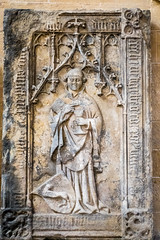 Gravestone of a priest (Nick in exsilio) Tags: erfurt thuringia severikirche clergy medieval clerical beret biretta chasuble gothic chalice priest