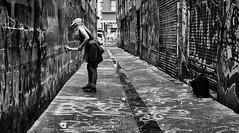 The laneway (D.H.S Photography) Tags: ifttt 500px girl street rain colour art monochrome fun grunge bnw wet gorl mono grafitti spray xt2