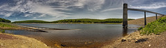 Submerged Roadway Panorama, 2010.06.02 (2017 Remix) (Aaron Glenn Campbell) Tags: francisewalterdam usarmycorpsofengineers nepa pennsylvania whitehaven lehighriver reservoir submerged water roadway clouds sky summer outdoors optoutside canon eos rebel t2i 550d efs 1855mmf3556is kitlens pano panorama 8xp photomerge macphun luminar on1effects nikcollection viveza