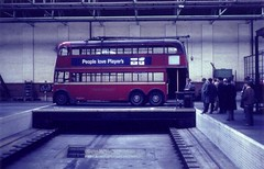 c1960 – London Trolleybus on traverser. (RTW501) Tags: traverser isleworth fxh528 aec mcw trolleybus london demonstration