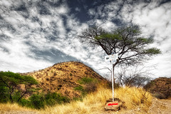 Hiking Trail (Daniela 59) Tags: sign hikingtrail tree hills hilltop path clouds sky nature landscape namibianlandscape daanviljoengamepark 7dwf 7dayswithflickr crazytuesdaytheme wideangle treemendoustuesday hdraddicted danielaruppel