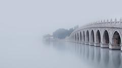 The Seventeen-Arch Bridge (v-_-v) Tags: china beijing peking summerpalace bridge water fog mood asia travel monochrome landscape architecture visibility trees