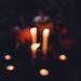 Halloween candles and pumpkins