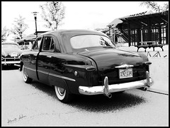 Forty-Nine Four Door (novice09) Tags: backtothefifties carshow ford 49 fourdoor sedan whitewalls fenderskirts ipiccy pencilsketchapp blackandwhite monochrome