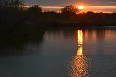 Gust on the Water (NaturalLight) Tags: sunset water reflections chisholmcreekpark wichita kansas