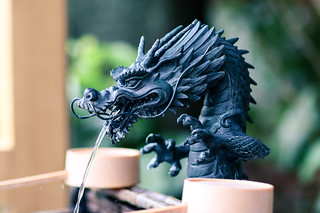 Dragon statue at water basin