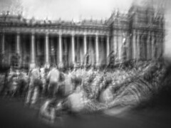 spring street supplicants (Andrew C Wallace) Tags: icm blur longexposure ir infrared microfourthirds m43 olympusomdem5 nd400 springstreet parliamenthouse melbourne victoria australia protest refugees blackandwhite bw
