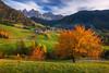 Autumn Dream (albert dros) Tags: valdifunes trees vilnoss dolomites falls church albertdros mountains italy greens autumn travel orange longexposure