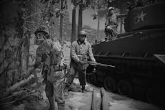 Soldier, Cantigny Park. 5 (X70) (Mega-Magpie) Tags: cantigny park wheaton il illinois usa america soldier trooper tank rifle bw black white mono monochrome fujifilm fuji x70