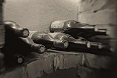 Gut gelagert (Panasonikon) Tags: panasonikon sonya5100 lensbaby sweet35 schärfentiefe wein weinkeller flaschen bw sw