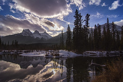 Shadow of the sisters (Len Langevin) Tags: canmore alberta canada threesisters rockies rockymountains reflection water river bowriver landscape contrejour nikon d7100 tokina 1224