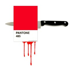 expect the unexpected (brescia, italy) (bloodybee) Tags: pantone cards red colors match colormatch knife stab blood bleed stilllife humor fun square