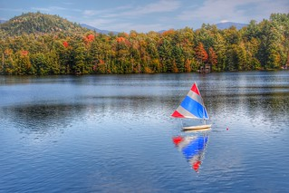 Lake Placid  - New York - Sail Boat Reflection