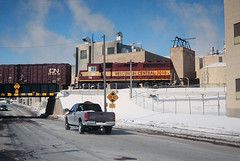 Landing in Rhinelander (view2share) Tags: wc3018 wisconsin wi wc winter wisconsincentral emd electromotivedivision engine eastbound local locomotive mill papermill snow snowfall steam industry gp40 boxcar pickup pickuptruck fence bradleysub cn canadiannational cold track transportation trains tracks transport train trackage bridge branchline overpass street railway railroading railroads rr rail rails railroaders railroad rring roadtrip road deansauvola march52007 march2007 march 2007