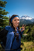 Laura with a View of Rainier (Justy.C) Tags: cascademountainrange eunicelake landscapephotography mountrainiernationalpark portraitphotography summer tolmiepeaktrail usnationalpark