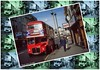 Postcard From London (M C Smith) Tags: bus red london routemaster rml whitehall trafalgersquare man bag pavement yellow lines white people postcard green blue sky busstop lamps signs shops cafe theatre trafficlights bin cones