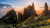 On the top of the world , Old Man  of Storr , Skye Island , Scotland ... (Anton Calpagiu) Tags: scotland sun light goldenhour clods colours oldmanofstorr grass green hail sunlight rocks human