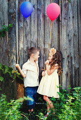 Boy and Girl with pink and blue Balloons in the Garden. (Kseniya Polonskaya) Tags: kids fashion lifestyle happy happiness boy girl healthy life children love rural vintage dress romantic countryside small young woman child spring summer pink blue balloon people female nature little lady beauty model pair activity vitality outdoors childhood enjoyment beautiful childcare conceptual summertime village garden air bright smile rustic relations