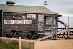 Aldeburgh, Suffolk (Roger Hanuk) Tags: kodakektar hut england smoked fish shop northsea anchor suffolk sea beach aldeburgh house black sign smoke seascapes white object xequals unitedkingdom gb
