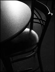 Morning sunlight (Bob R.L. Evans) Tags: blackandwhite graytones tableandchair highlights mood availablelight ipadphotography simple chairs