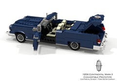 Continental Mark II - Convertible Prototype - 1956 (lego911) Tags: continental mkii mk ii v8 1956 1957 classic 1950s division ford motor company auto car moc model miniland lego lego911 ldd render cad povray coupe hardtop lincoln usa america lugnuts challenge 99 landyachts land yacht chrome fins luxury landmark prototype convertible